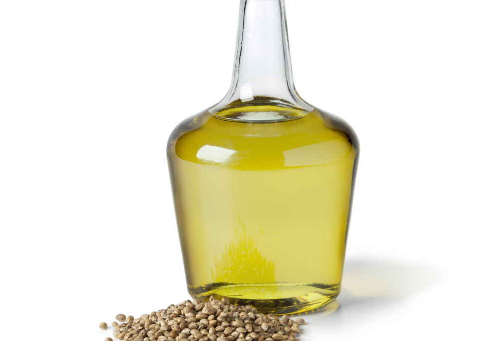 Bottle with hemp oil and hemp seed