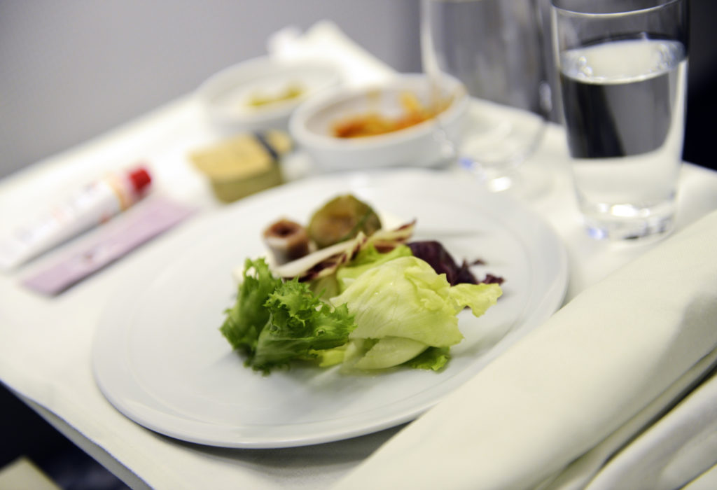Airline meal served in the business class